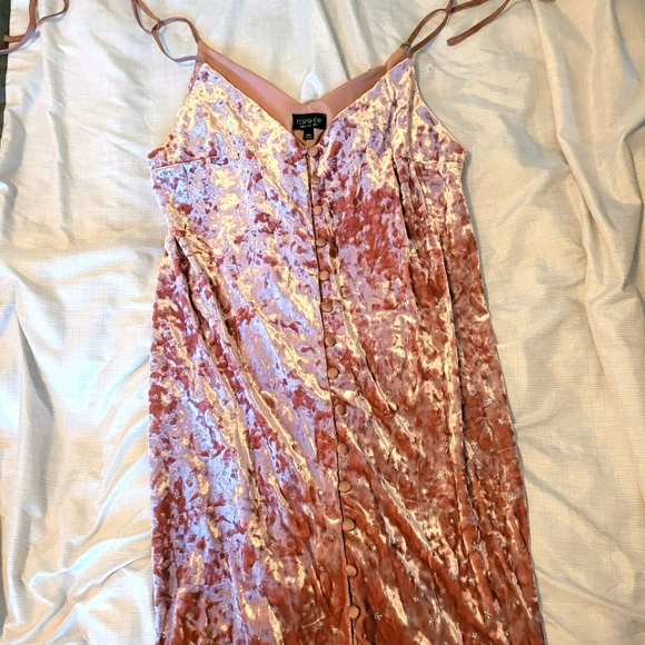 Pink Velour Spaghetti Strap Shift Dress